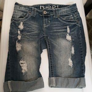 Rue21 Bermuda Denim Ripped Shorts